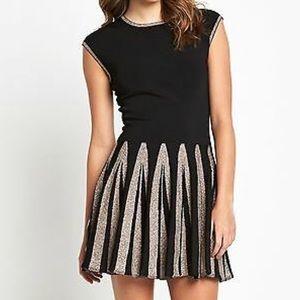 Ted Baker Metallic Pleated Knit Dress